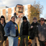 Leonard Peltier Statue at American university with Rigo 23, Chauncey Peltier, Robert King, Peter Clark and Leonard Foster.