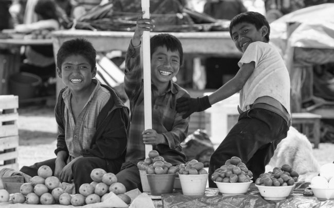 Children selling vegetables in Chamula, Mexico
