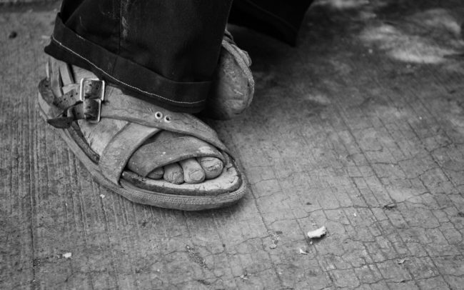 Farmer's feet in Tlacolula de Matamoros, Oaxaca, Mexico